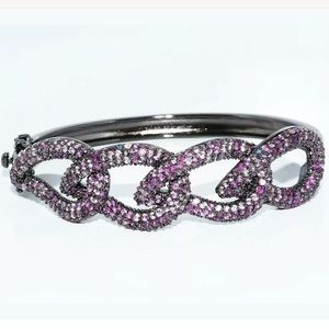 Jewelry - New 6.50ct Natural Pink Sapphire Cluster Bracelet